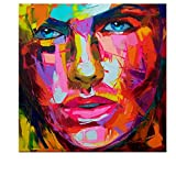 TTKX@ Spachtelmalerei Abstraktes Portrait Gesicht Ölgemälde Handbemalt Leinwand, 90X90Cm