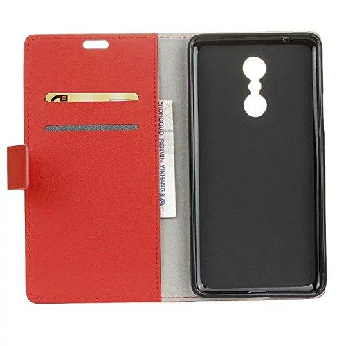 Solid Color Kas Textur Muster Leder Schutzhülle Case Horizontal Flip Stand Case mit Kartennuten für Lenovo K6 Hinweis ( Color : Pink , Size : Lenovo K6 Note ) Red