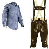 Herren Trachten Lederhose Dunkelbraun Inkl.Hosen Träger Größe 46-62 Trachten Set Blau Hemd Neu (Lederhose 52 Blau Hemd XL)