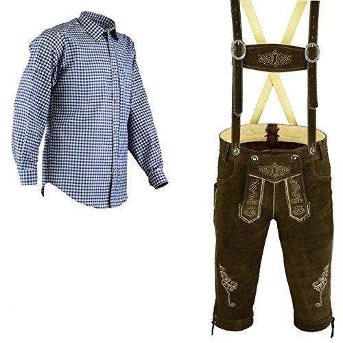 Herren Trachten Lederhose Dunkelbraun Inkl.Hosen Träger Größe 46-62 Trachten Set Blau Hemd Neu (Lederhose 50 Blau Hemd L)