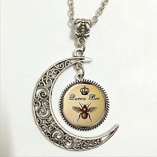 fei lang Bienenenkönigin Anhänger, Königskrone Insektenkunst Halskette, Königskrone Insektenkunst Mond Schmuck, Mond Halskette Glaskunst Bild