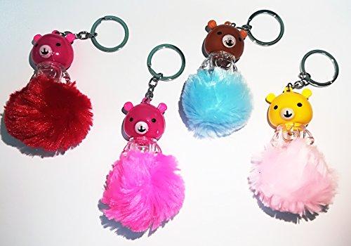 Takestop® set 12 pezzi bomboniera bomboniere portachiavi orso peluche led pon pon orsetto cuore porta chiavi primo compleanno comunione
