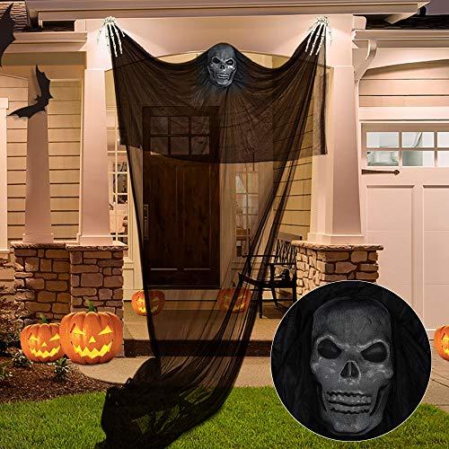 TUPARKA 3 Stück Halloween Deko-Set,Halloween hängenden Geist Prop und 2 Stück Skelett Hände zum Halloween Party Bar Dekorationen (Schwarz)