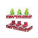 6 PCS Weihnachten Kerze,Moon mood® Weihnachtsdekoration Christmas Decoration - Weihnachtskerzen 3pcs Weihnachtsstiefel +3 pcs Weihnachtsbaum Weihnachtskerze für Dekorieren Weihnachtsbäume,Weihnachtskränze,Rattan,Weihnachten Festive Party Supplies