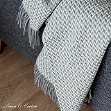 Linen & Cotton Warme Decke Wolldecke Wohndecke Kuscheldecke Valencia - 100% Wolle, Blau/Beige/Natur (135 x 205 cm), Sofadecke/Tagesdecke/Schurwolldecke/Decke Wolle/Schurwolle/Lammwolle