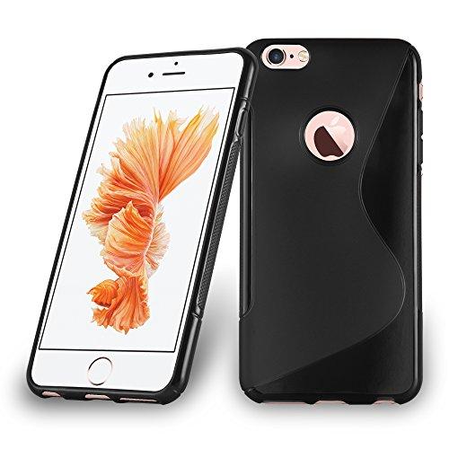 Apple iPhone 6 PLUS / 6S PLUS Silikon-Hülle in ROT von Cadorabo - S-Line Design TPU Schutz-hülle – Handy-hülle Bumper Case Cover in INFERNO-ROT OXID-SCHWARZ