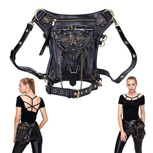 DM201605 Vintage Steam Punk Rock Retro Gothic Skull Waist Pack Shoulder Bag Wallet for Men Women