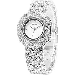 Pixnor WEIQIN White Dial Crystal Lady Women Girl Bracelet Bangle Quartz Wrist Watch (Silver)