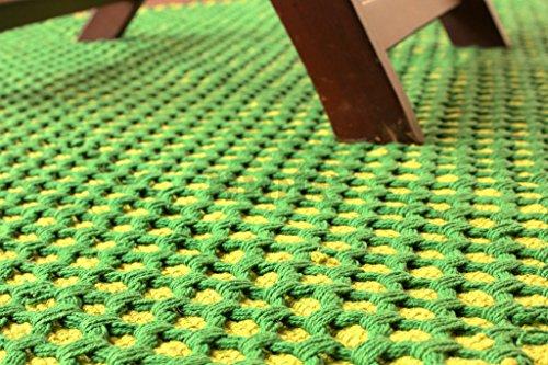 Green 5 X Rug Area 7 (150x210 cm Mehrfarben gestreifter Teppich. Flach gewebter beidseitig verwendbarer Teppich aus 100 % purer Bio-Faden & natürlichen Färbemitteln. 5' x 7' Green Diamond Pattern Reversible Area Rug. Material 100% Cotton)