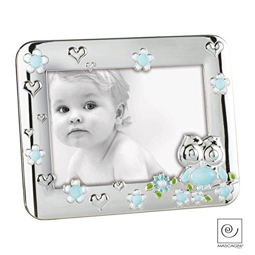 Mascagni A226 Fotorahmen für auf Den Tisch, für Kinder, Eulenmotiv, aus Metall, glänzend Silber, Verschiedene Farben Himmelblau