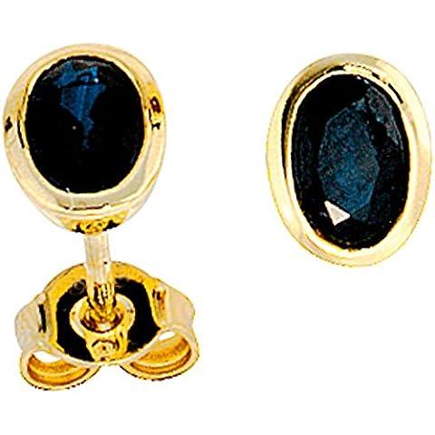 JOBO 585-2-Orecchini in oro giallo, colore: blu zaffiro