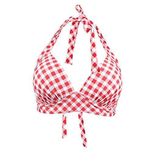 YoungSoul Retro 50er Rockabilly Bikinis fr Damen - Kariert Bademode mit Raffung und hoher Taille - Neckholder - Formende Badeanzug, Rot Kariert, EU 36-38