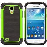 kwmobile Funda híbrida para Samsung Galaxy S4 Mini en verde neón negro. Interior de gel TPU, ¡estructura rígida! Ideal para uso al aire libre y ultramoderna