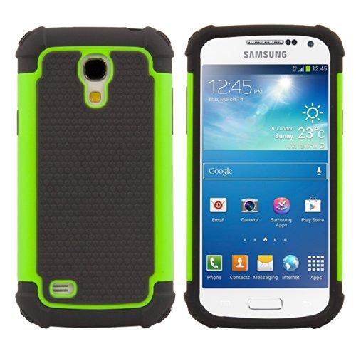 kwmobile Hülle für Samsung Galaxy S4 Mini i9190/i9195 - Hybridhülle Dual Case Handy Schutzhülle TPU Silikon - Hybrid Cover Neon Grün Schwarz