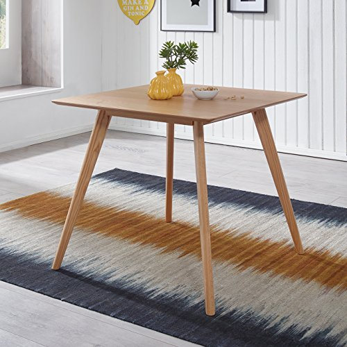 FineBuy Esszimmertisch 80 x 76 x 80 cm aus MDF Holz | Esstisch mit quadratischer Tischplatte | Robuster Küchen-Tisch im Retro Stil | Holz-Tisch in skandinavischem Design | Tisch in Eichenfurnier