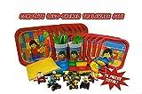 Kit pour fête Lego-themed les fêtes (Ligne 8, 73pièces) complète un nettoyage facile de table Lot de décorations et, Plus 8Bonus à construire Voiture de course Jouets avec Mini-fig pilotes d'appui. CES Excellent fête.