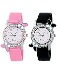 Crispy Analog Butterfly Diamond Studded Watch Combo for Womens Pink and Black