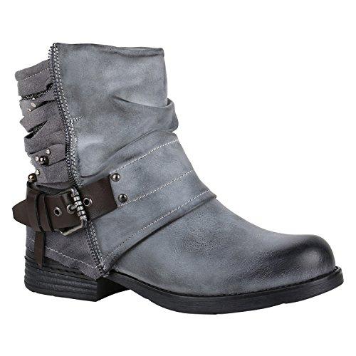 Leicht Gefütterte Damen Stiefel Biker Boots Schnallen Stiefeletten Schuhe 150221 Grau Nieten Avelar 36 Flandell
