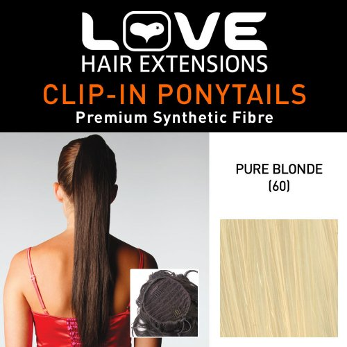 Love Hair Extensions - LHE/N/SILKYSUE/DS/60 - Prime de Fibres Silky Sue - Cordon Coulissant - Queue de Cheval - Couleur 60 - Blond Pur