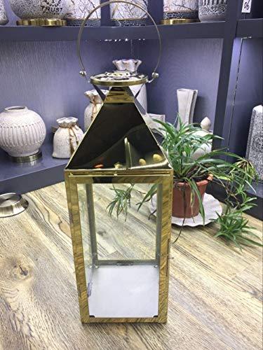 YXSHHHL Portable Outdoor Laterne Hotel Clubhaus Dekoration Dekoration Edelstahl Wind Lampe Kerzenhalter @ Gold Größe 18 * 19 * 50