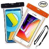 Yould [2 Pack] IPX8 Sac étanche Fluorescent Transparent, Appliquer à pour Wiko Robby 2/Wiko Tommy 3/Wiko View 2 Pro/Wiko View 2, Housse Imperméable Telephone (6''), Profondeur de 15m (Orange+Noir)