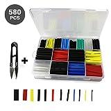 GikPal Schrumpfschlauch 580 Stück Isolierung Schutz Schrumpfverhältnis 2: 1 durchsichtigen Kunststoff-Box für Collect & Handy Schere 6 Farben 10 Größen