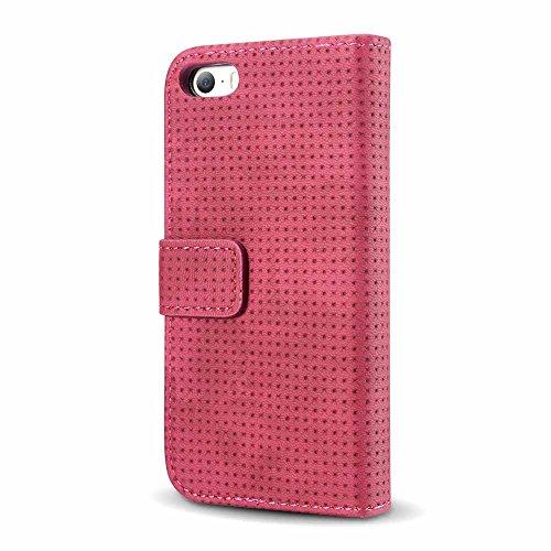Custodia iPhone 6/6s/6 Plus/6s Plus/7/7 Plus - Dfly Custodia In Pelle Con Invisibile Forte Inarcamento Magnetico Doppio Side Magnete Design Flip Cover Custodia Rosso