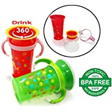 Momeasy Drinking 360 Degree Baby Training Cup, BPA Free Spill Proof Easy Flow Kids Baby Milk Sipper Cup Bottle Mug, 9 Oz, 12M+ Toddler Milk Water Drinking Learning Rim Cup Bottle
