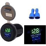 Samoleus 2 USB-Ladegerät Power Steckdose 2.1A & 2.1A mit Voltmeter für Ipad Iphone Auto Boot Marine Mobile blaues LED-Licht
