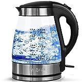 Wasserkocher Glas Elektrische Wasserkessel Teekocher 1,7 L mit Blaue LED Beleuchtung, 2200W Abnehmbar Kabellos Wasserkocher mit Automatische Abschaltung Überhitzungsschutz Schwarz