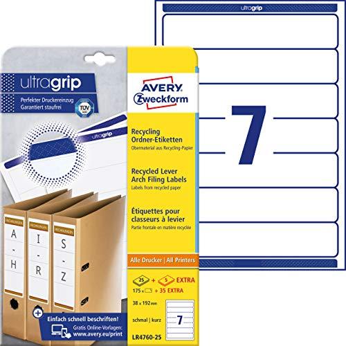 Avery Zweckform-Etichette LR 4760-25-Cartellina portadocumenti in carta riciclata, 192 x 38 mm, 25 fogli, 100 etichette adesive permanenti, colore: bianco