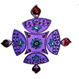 Handmade Elegantly Designed Purple Rangoli - With Diya Shaped Design Decorated With Stones And Beads On Purple Elongated Square Shaped Plastic Base - 5 Pieces Set - Packed In Transparent Pouch