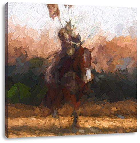 Pixxprint Samurai Krieger auf Einem Pferd Kunst Pinsel Effekt, Format: 70x70 auf - Ninja Männliche Kostüm