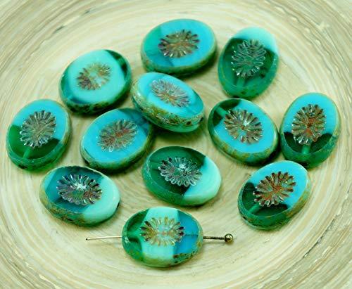 8pcs Picasso Braun Türkis Grün Opal Blau Gestreift Rustikal Tisch am Fenster Flach Abgeschnitten Kiwi Oval Tschechische Glasperlen 14mm x 10mm -