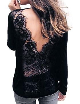 AIMEE7 Camiseta con cuello en V y encaje de mujer Blusa sin mangas con cuello en V de manga larga sin mangas