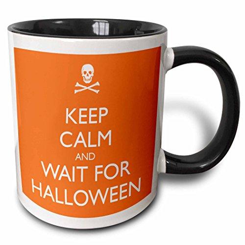 3dRose Tasse 161169_ 4Keep Calm und warten für Halloween, Orange zweifarbig schwarz Tasse, 11Oz, schwarz/weiß