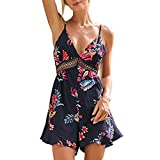 Produkt-Bild: Tshirt Oberteile Damen Elegant Sommer Kurzarm V-Ausschnitt Floral ärmellose Spitze Nähen Shorts Overalls