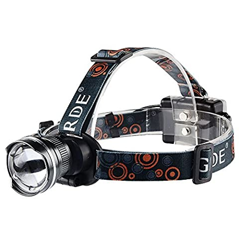 GRDE® VTT Lampe Frontale LED 1800 Lumens Zoomable Headlight Puissante