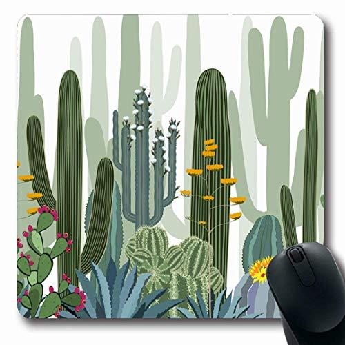 Luancrop Mousepads Grafikmuster Kaktus Wilder Wald Natur Birne Blume Mexiko Wüste Saguaro Agave Design rutschfeste Gaming Mouse Pad Gummi Längliche Matte -
