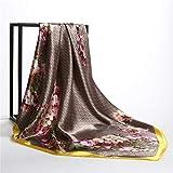QYYDWJ Impresión de Rayas Bufanda de Seda Mujeres Diseñador Bandana de...
