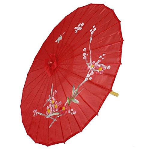 """SODIAL(R)Pflaume Muster Roter Tanz Regenschirm 31.5\"""" Durchmesser Orientalischer Chinesischer Regenschirm Sonnenschirm"""