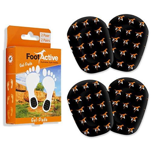 FootActive GEL-PADS - (4 Stck.) -Fersen-Gelkissen mit weichem Bezug zur Steigerung des Laufkomforts! - Wer sanft auftritt, kommt weit.!