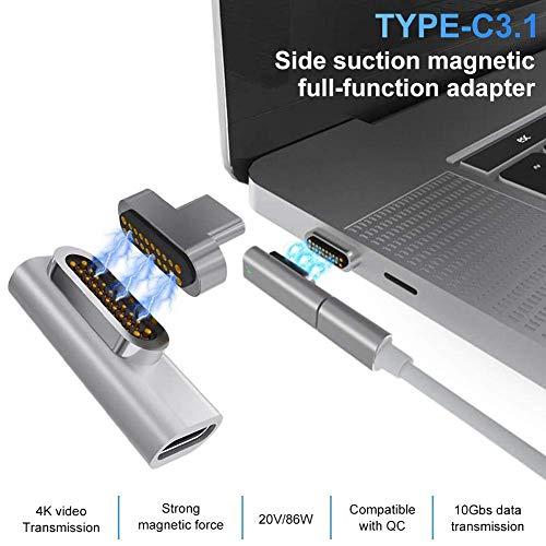 Persiverney Magnetischer USB C-Adapter, Typ C-Anschluss, USB 3.1, 10-Gbit/S-PD - Unterstützt Hohe Geschwindigkeit, Kompatibel Mit MacBook Pro Matebook Silver