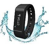 Tracker d'activité,Amytech Bluetooth 4.0 Podomètres Bracelet électronique Bracelet Sport Fitness Tracker,Noir