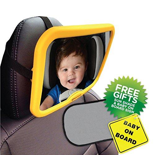 Venture act-vue | Baby Auto Spiegel | 100% Bruchsichere Design | inklusive Bonus Baby on Board, Schild und UV-Sonnenschutz...