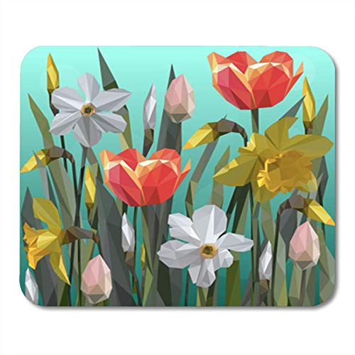 AOCCK Gaming Mauspads, Gaming Mouse Pad Blue Beautiful of Daffodil and Tulips Flowers Women Day Colorful 11.8