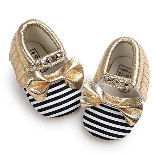Baby schuhe Jamicy® Baby Bowknot Streifen Niet weiche Sohle Schuhe Kleinkind Turnschuh beiläufige Schuhe (6~12 Monat, Blau) Gelb