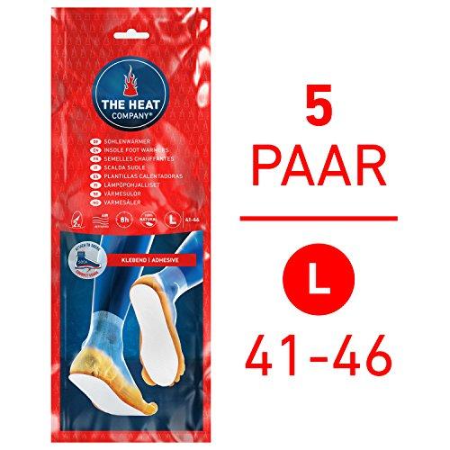 THE HEAT COMPANY Semelles Chauffantes Adhésives | EXTRA CHAUD | 8 heures de chaleur | chaleur immédiate | autochauffante | 100% naturel | LARGE Taille: 41-46 | 5 paires