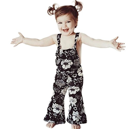 Baby Kleidung JYJM JYJM Baby Mädchen Sleeveless Overalls Backless Overall Hosen Outfits Halter Strap Floral Flare Hosen Overall clothing for baby girl 0.5-5 Jahr (120, Schwarz) Purple Flare-hose