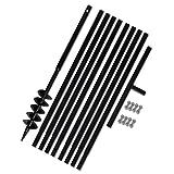 Tidyard- Erdbohrer Handerdbohrer mit Griff 120 mm Verlängerungsrohr 9 m Metall Bohrer Erdbohrer Set